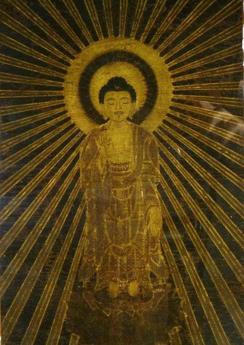 花見小路 822 江戶時代  稀有手繪 釋迦摩尼佛 絹本 肉筆 典藏品