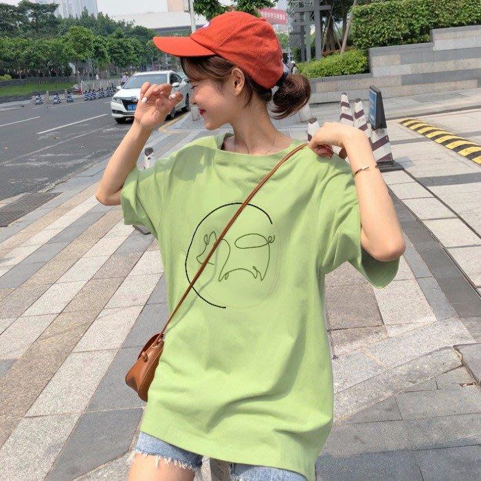 乾一 夏季韓版寬松休閑套頭圓領豬豬短袖女ins洋氣百搭女學生T恤上衣潮
