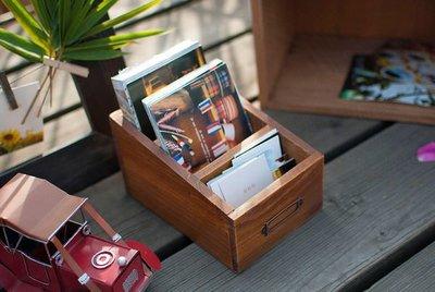 ☆生活雜貨館☆ Vintage 鄉村風原木3格單層收納櫃 木櫃 文具櫃 明信片收納盒 名片分類櫃 小木盒