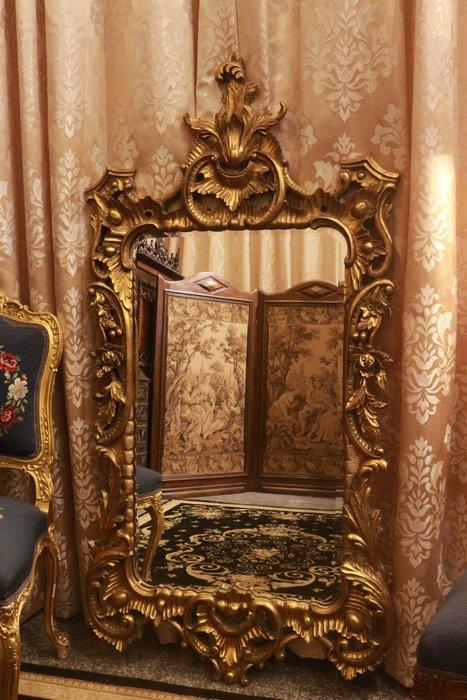 【家與收藏】賠售特價極品稀有珍藏歐洲古董法國凡爾賽華麗巴洛克手工木金箔雕花玄關大桌鏡/掛鏡
