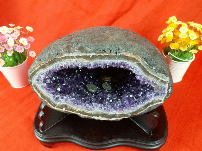 紅牡丹精品 )紫水晶聚財晶洞