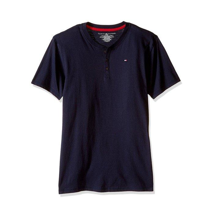 美國百分百【全新真品】Tommy Hilfiger T恤 TH 男衣 T-shirt 短袖 短T 亨利領 深藍 H892