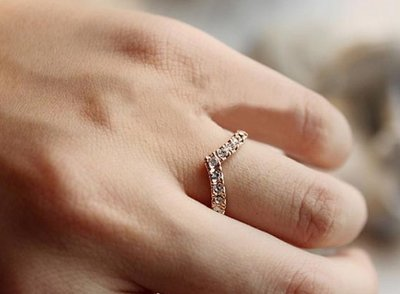 韓國飾品V型V形獨特設計款鑲鑽簡約戒指滿鑽愛心尾戒女