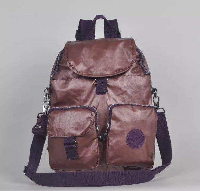 Kipling 猴子包 香檳紫 多口袋掀蓋拉鍊款輕量雙肩後背包 肩背/手提包 中款 限時優惠 防水