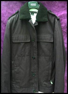 歐碼48時裝之父CERRUTI 1881夏綠蒂羔羊毛領深紫色95%棉+5% CASHMERE 軍裝風外套