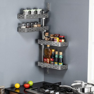小賴的店--不銹鋼廚房置物架調料調味架壁掛式轉角架旋轉多功能收納架省空間