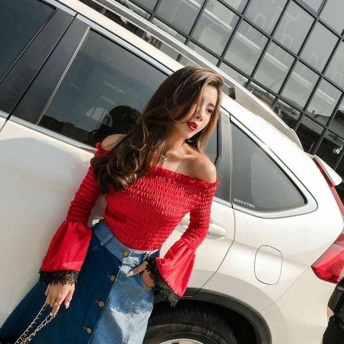 日韓服飾*一字領棉絨上衣+牛仔長裙(紅色)*韓國連線**現貨*優雅獨特款*原價650-特價499**3s潮流屋~2件免運