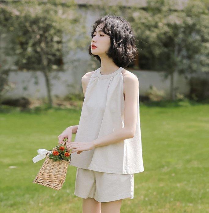 SeyeS 復古韓系簡約自然風麥芽色吊頸背心+短褲二件式套裝組合