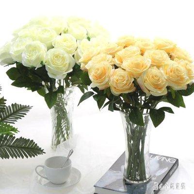 假花裝飾擺件 仿真玫瑰花束單支假花塑料花絹花家居臥室裝飾花 nm10474