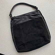 德國 FREDsBRUDER 黑色牛皮拼絨毛 手挽袋 ($360 包順豐)