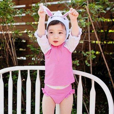 [泳漫]2003泳衣兒童泳衣泳褲潛水衣連身泳衣生男生兒童泳衣女童女孩寶寶防曬速干長袖分體海邊溫泉保暖泳裝可愛兔39