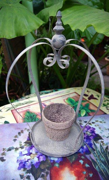 花器--秘密花園-南法鄉村風仿舊鐵製皇冠花器/擺飾/裝飾/附陶盆--出清價