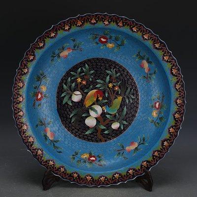 ㊣姥姥的寶藏㊣ 大明永樂琺瑯彩掐絲花鳥紋瓷盤  出土文物古瓷器古玩古董收藏擺件