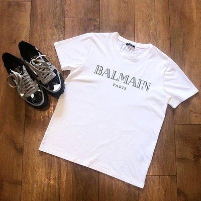 【折扣預購】20秋冬正品Balmain 黑色logo短袖T恤  白色短T 棉T-shirt上衣