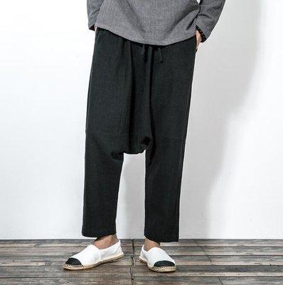 FINDSENSE Z1 日系 流行 男 時尚 寬鬆 舒適 寬管 亞麻 寬檔 嘻哈 哈倫褲 蝙蝠褲 休閒長褲