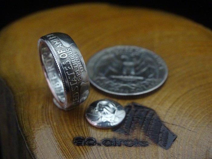 ao.circle 奢扣 美金 25分 真幣 美國 老鷹 6.5mm {寬版} 手工戒指