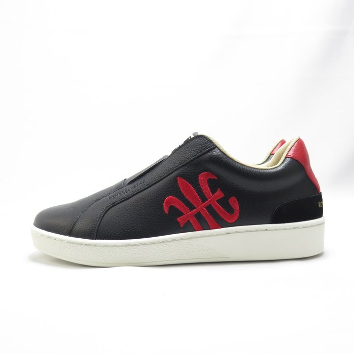 Royal 無鞋帶 休閒鞋 皮革 公司貨 01702951 男款 黑紅【iSport愛運動】