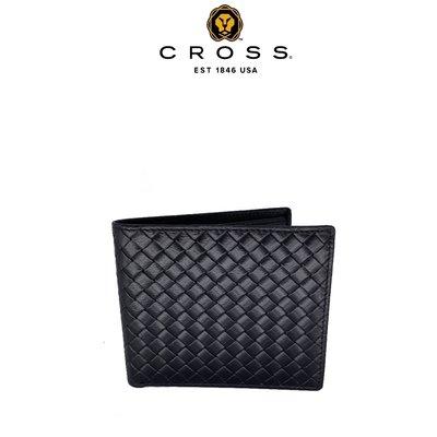 [限量 專櫃展示品] ~ CROSS ~ 頂級 編織紋 NAPPA 小牛皮 8卡 男用 皮夾 阿梅爾系列 (極緻黑)