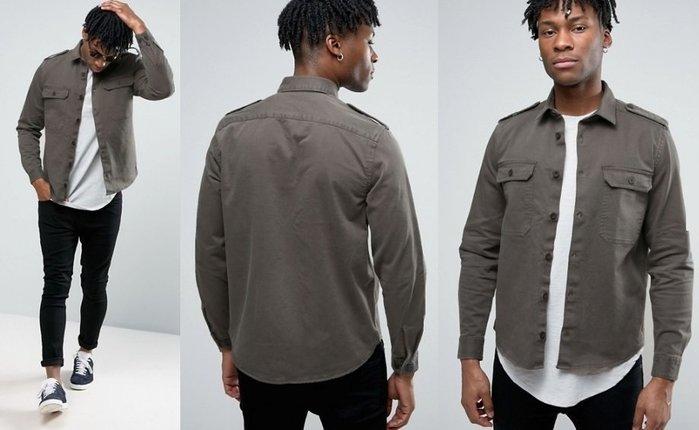 ◎美國代買◎ASOS有蓋口袋鈕扣肩帶設計軍裝風口袋長袖襯衫上衣~歐美街風~大尺碼
