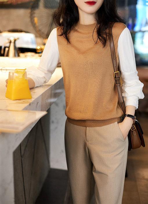 YOHO 長袖上衣 (HH113239) 秋冬棉質袖拼接圓領長袖針織衫  寬鬆上衣 有2色