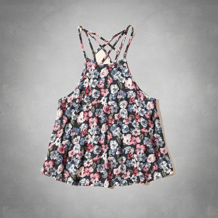 【HOLLISTER Co.】【HCO】HC女款細肩上衣滿版花朵藍 F09150608-26