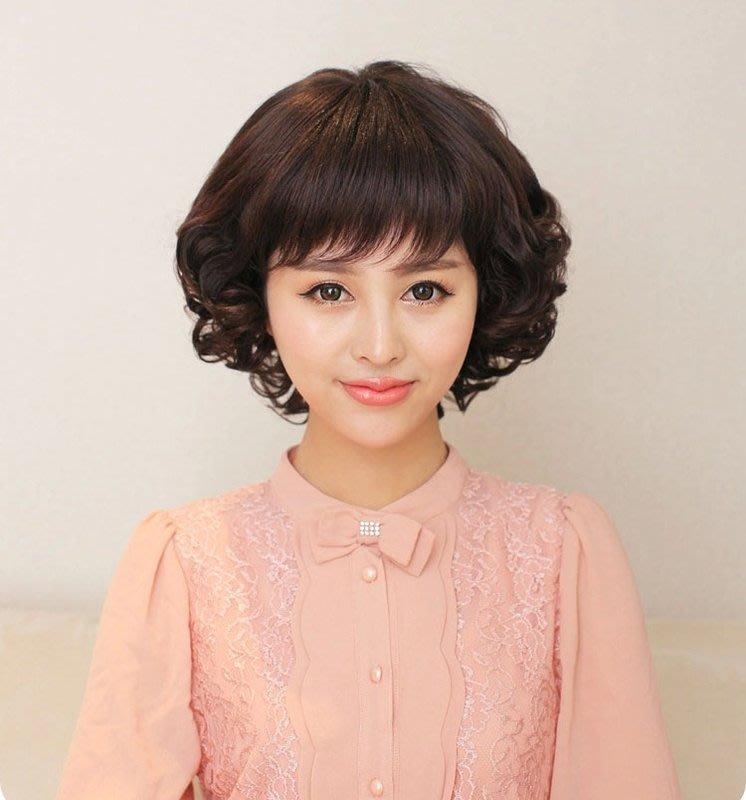 JQ1037-3假髮_時尚輕熟女短捲髮中老年假短髮媽媽短捲髮/深棕色+附送髮網