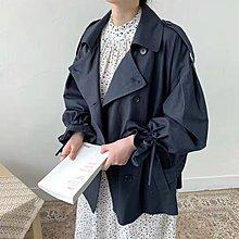Maisobo 韓國KOREA 早秋爆款喇叭袖雙排扣綁帶風衣外套 LO-27 預購