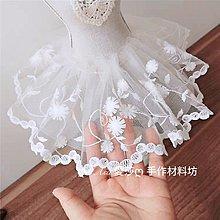 『ღIAsa 愛莎ღ手作雜貨』網紗刺繡花朵白色蕾絲DIY手作花邊輔料寬12cm