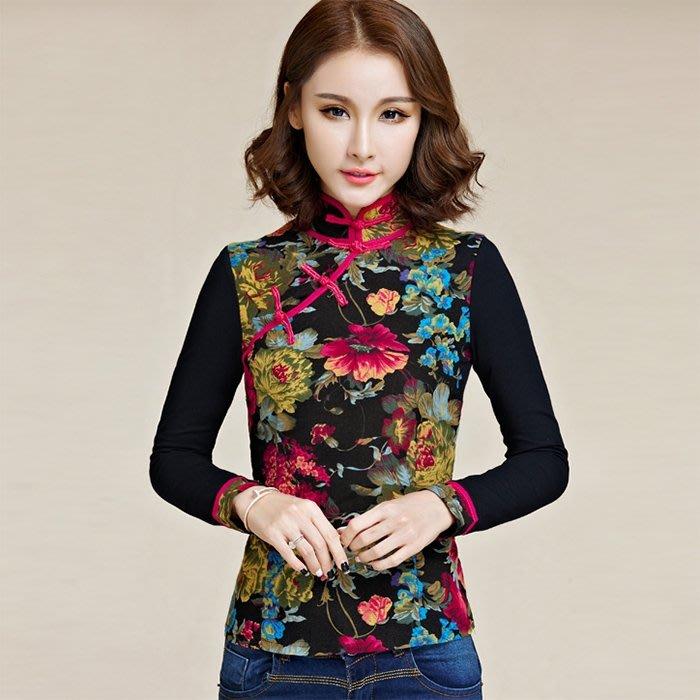 秋冬裝新款民族風棉麻長袖女裝打底衫唐裝中式大碼t恤女上衣XKL1265