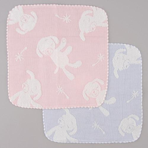 日本製 無撚系 藍色小狗紗布棉小方巾手帕