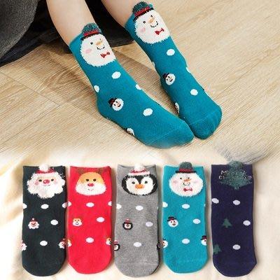 【小阿霏】聖誕襪5入組 中小大童 兒童寶寶短襪 耶誕馴鹿雪人企鵝棉襪 秋冬百搭襪子PA323