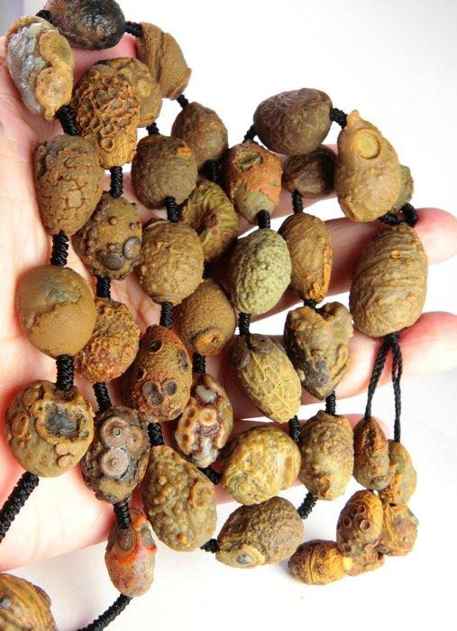 早期大颗粒阿拉善本地帶眼筋脈珠串項鍊 戈壁瑪瑙 筋脈眼石
