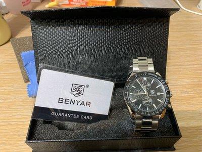 全新Benyar 三眼計時鋼帶錶