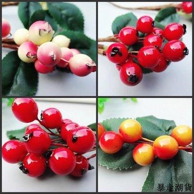 乾花 園藝裝飾 diy裝飾 圣誕節diy材料圣誕仿真漿果仿真水果家居飾品仿真圣誕果子