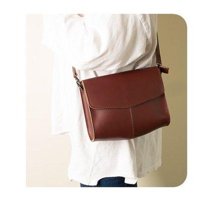 單肩包 真皮 側背包-復古簡約方型牛皮女包包73vd53[獨家進口][米蘭精品]