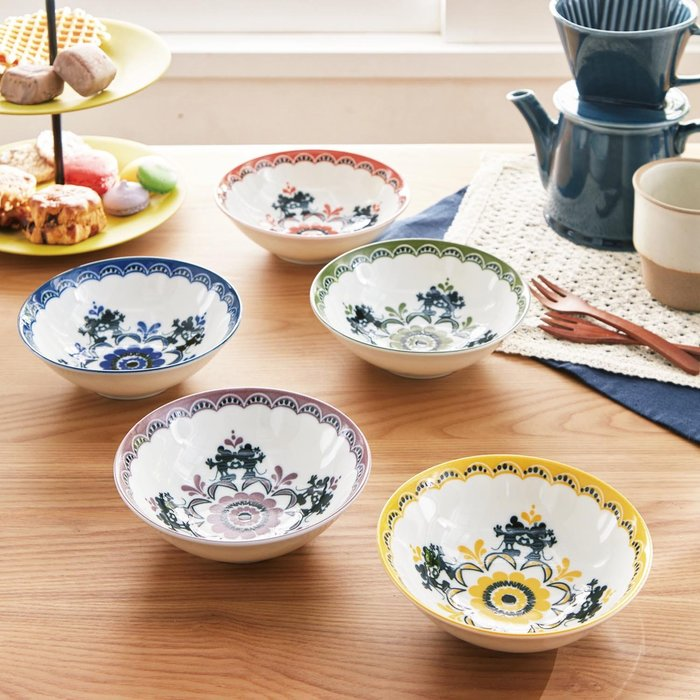 迪士尼Disney《預購》米奇米妮  復古氛圍 餐碗飯碗組 5入一組~可微波~日本製~心心小舖