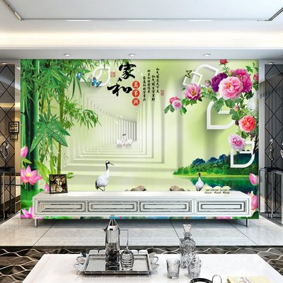 哇塞壁纸電視背景墻壁紙3D富貴竹子墻紙大氣現代簡約客廳5D壁畫8D影視墻布小猪哇塞