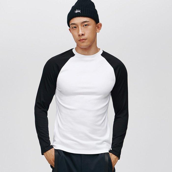 【OTOKO Men's Boutique】固制:復古拼色插肩長袖/白身黑袖(台灣獨家代理)