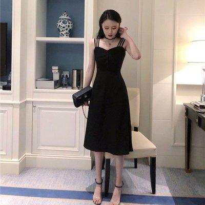 日韓女裝 洋裝 T恤 女褲 2019春裝新款時尚韓版氣質露肩收腰顯瘦吊帶小黑裙連衣裙女裝夏季