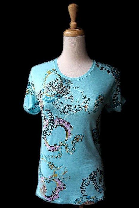 *Beauty*BLUMARINE綠色鉚釘水鑽短袖棉T恤 I38 號 4980   元WE18