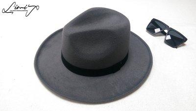 灰色可調寬沿紳士帽 Wide brim hat 歐美 百搭 古著 復古  寬沿 大帽簷 【LtLf】