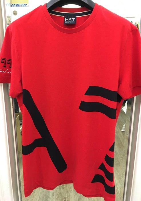 喬瑟芬【Emporio Armani】現貨~2016春夏 紅色 大EA7 Logo 棉質 T 恤