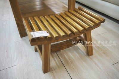 【米蘭柚木傢俱】全柚木小椅子、矮椅、古椅 - 弧型款『全館批發價活動!』