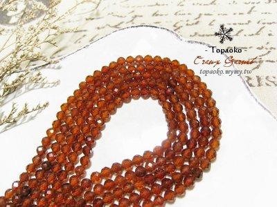 天然石.DIY串珠 天然透橙石榴石切面圓珠串裝約98P【F9453-1】約4mm橙紅切角條珠散珠《晶格格的多寶格》