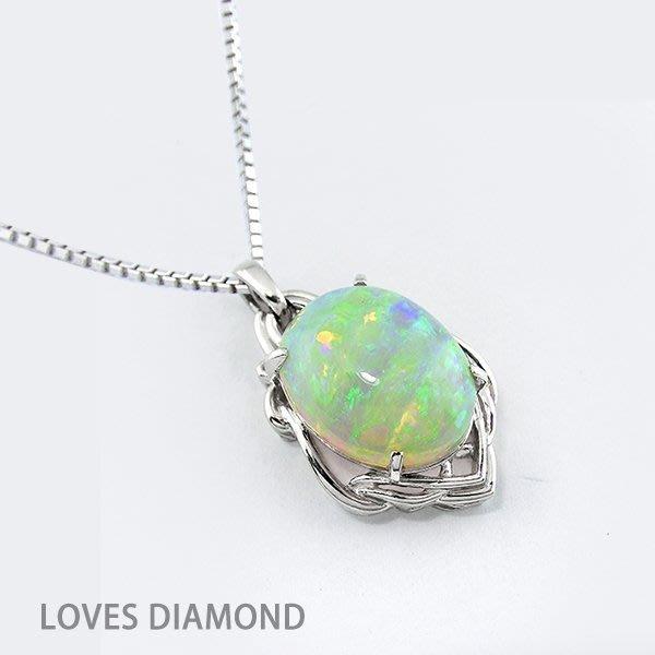 【LOVES鑽石批發】進口精品款-《綺麗瑰寶》蛋白石設計款白金墬子-另售GIA項鍊 彩鑽 LOVES DIAMOND