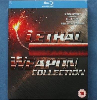 致命武器1-4四部曲 (5碟藍光BD)收藏套裝BThe Lethal Weapon全新歐洲進口藍光BD 中文字幕