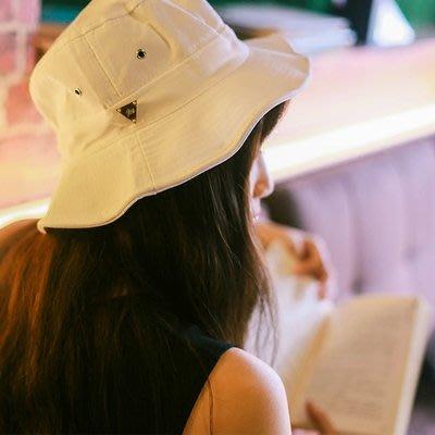 金属标复古纯色渔夫帽潮男女情侣街头百搭盆帽休闲遮阳帽子