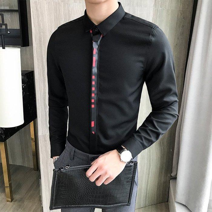 型男風 現貨 2019潮男領帶印花時尚長袖襯衫型男修身韓版長袖襯衣 實拍 免運