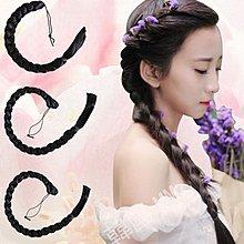 韓國MM= 假髮長辮子中式新娘秀禾麻花辮影樓兒童仙女古裝造型假髮