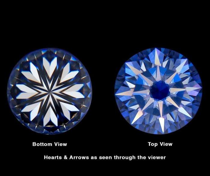 買一送一、2S10莫桑鑽圓形G色1克拉6.5mm八心八箭莫桑石.魔星鑽 超越鑽石 送一顆莫桑鑽圓形IJ色1克拉八心八箭